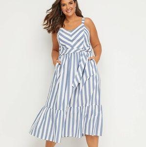 Lane Bryant Striped Poplin Dress